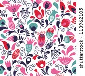 seamless floral pattern | Shutterstock .eps vector #113962105