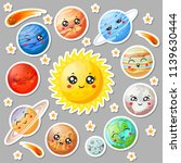 cartoon cute planets stickers.... | Shutterstock .eps vector #1139630444