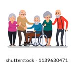 cartoon old people. happy aged... | Shutterstock .eps vector #1139630471