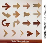 vector set arrows wooden | Shutterstock .eps vector #113963821