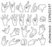 realistic shape hand gestures... | Shutterstock . vector #1139652197