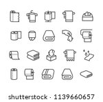 Stock vector simple set of towels and napkins related vector line icons contains such icons as wet towel 1139660657