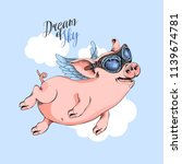 happy pig in a pilot's glasses... | Shutterstock .eps vector #1139674781