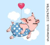 happy pig in a blue polka dot... | Shutterstock .eps vector #1139674784