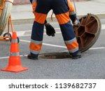 worker in uniform stand over... | Shutterstock . vector #1139682737