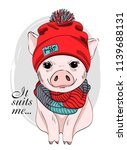 vector pig with red hat and... | Shutterstock .eps vector #1139688131