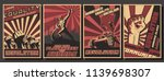 Vector Set of Retro Soviet Revolution Propaganda Posters Stylization