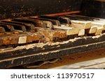 Keys Of An Old Piano Damaged B...