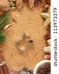Homemade Christmas cookies, spices and Angel cutter. - stock photo
