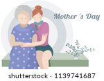 grandmother and daughter warmly ... | Shutterstock .eps vector #1139741687