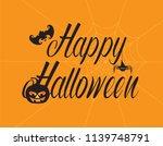 happy halloween text greeting... | Shutterstock .eps vector #1139748791