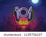 night city. sign neon. snack... | Shutterstock .eps vector #1139756237