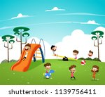 children playing in the... | Shutterstock .eps vector #1139756411
