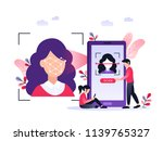 smartphone scans a woman face.... | Shutterstock .eps vector #1139765327