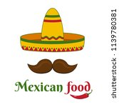 mexican food. colorful banner.... | Shutterstock .eps vector #1139780381