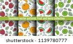 seamless pattern set. fruit and ... | Shutterstock .eps vector #1139780777