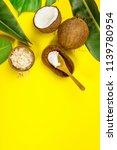 coconut oil  tropical leaves... | Shutterstock . vector #1139780954
