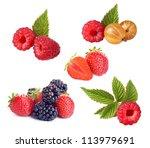 set of various berries on white ... | Shutterstock . vector #113979691