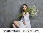 girl white light dress and... | Shutterstock . vector #1139798591