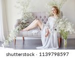 girl white light dress and... | Shutterstock . vector #1139798597