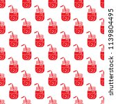 seamless pattern with smoothie...   Shutterstock .eps vector #1139804495