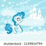 magic unicorn in clouds | Shutterstock . vector #1139814794