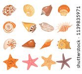 sea shells and starfish color... | Shutterstock .eps vector #1139835971