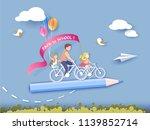 back to school 1 september card.... | Shutterstock .eps vector #1139852714