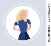 blonde woman akimbo round frame ... | Shutterstock .eps vector #1139862014