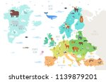 world map with funny wild... | Shutterstock .eps vector #1139879201