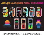 vector set of arcade machines... | Shutterstock .eps vector #1139879231