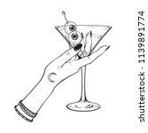 martini with eyeballs cocktail... | Shutterstock .eps vector #1139891774