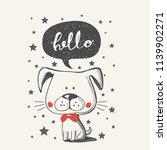 cute puppy cartoon hand drawn... | Shutterstock .eps vector #1139902271