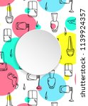 nail banner with doodle... | Shutterstock .eps vector #1139924357