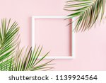 white frame and tropical palm... | Shutterstock . vector #1139924564