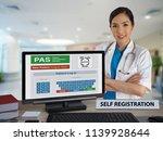 female doctor standing behind... | Shutterstock . vector #1139928644
