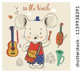 mouse with musical instruments. ... | Shutterstock .eps vector #1139938391