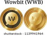 set of physical golden coin... | Shutterstock .eps vector #1139941964