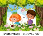 children searching for insect... | Shutterstock .eps vector #1139962739