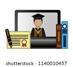 computer graduate man books... | Shutterstock .eps vector #1140010457