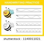 handwriting practice sheet... | Shutterstock .eps vector #1140011021
