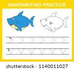 handwriting practice sheet... | Shutterstock .eps vector #1140011027