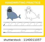 handwriting practice sheet... | Shutterstock .eps vector #1140011057