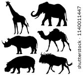african animals silhouettes set.... | Shutterstock .eps vector #1140011447