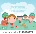 vector illustration of kids... | Shutterstock .eps vector #1140020771