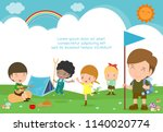 vector illustration of kids... | Shutterstock .eps vector #1140020774
