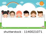 kids peeping behind placard... | Shutterstock .eps vector #1140021071