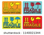 fragile handle with care... | Shutterstock .eps vector #1140021344