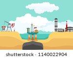 sea oil drilling offshore...   Shutterstock .eps vector #1140022904