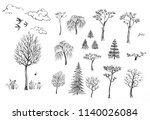 ink sketches of trees and... | Shutterstock . vector #1140026084